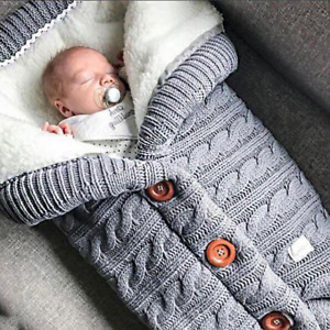 Cable Knitted Baby Sleeping Bag, Blanket, Cosy and Warm