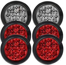 "6pcs 4"" Red/White Round 12 LED Stop Tail Turn Reverse Marker Light Rubber Mount"