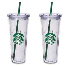 2x Starbucks Reusable COLD CUP VENTI - Coffee Clear Siren Logo Tumbler, 2 straw