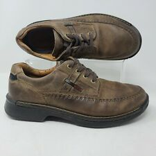 Ecco Brown Leather Oxford Size 9.5 Stitch Toe Mens Lace Up Loafer