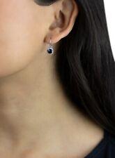 cushion cut natural green tourmaline and diamond 14k white gold earrings