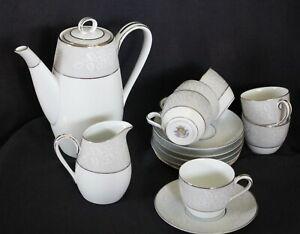 vintage NORITAKE demitasse coffee set 5698 DAMASK 14pce pot cups saucers JAPAN