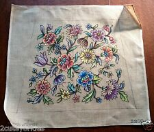 Penelope Needlepoint Tapestry Canvas Queen Anne Floral Seat Cover 3360 Vintage