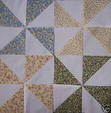 30 Pin Wheel Quilt Blocks 8.5 inches Traditional Calico
