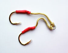 6 PAIRS Size 5//0 Custom Offshore Tackle Double Assist Hooks Gold