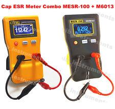 In Circuit Capacitor Capacitance Cap ESR Meter Tester Combo DMM MESR-100 + M6013