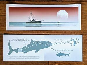 JC Richard JAWS Mini Print SET SIGNED Beach Amity Poster Handbill Art MINT
