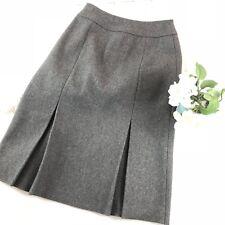 Miu Miu Pleated Wool Skirt 38 Gray A Line Midi