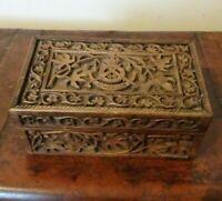 Antique Early 20thC 46th Punjabi Badge Carved Oak Jewellery Trinket Box Military
