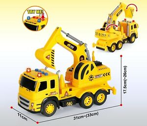 Friction Powered Toy Construction Truck Excavator with Sounds and Lights 1:12