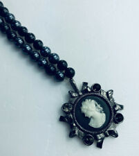 """Express Black Faux Pearl Necklace Cameo Pendant with bows Rhinestones 18"""""""