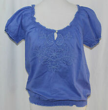 St. John��s Bay, PS, True Baja Blue Peasant Top, New with Tags