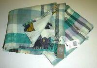 vince camuto designer WINE Plaid//Floral Wrap reversible blanket soft knit scarf