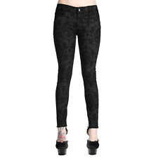Banned Burgundy Black Gothic Steampunk Cameo Cross Skinny Tight Trousers Jeans
