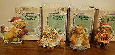 Cherished Teddies 1995 (4) Ornaments, Dated Bear, Baby's 1st, Our 1st + Santa