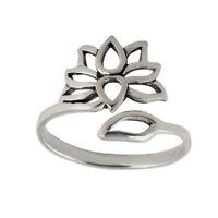 Adjustable Lotus Flower Ring - 925 Sterling Silver Leaf Namaste Yoga Gift New