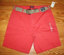 NWT Mens NAUTICA Belted Sailor Red Shorts sizes 34 36 38 40