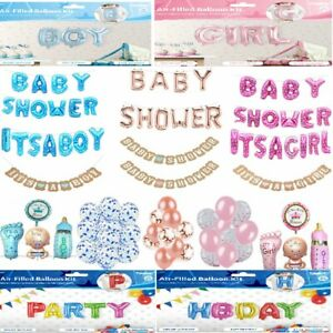 Baby Shower Girl or Boy Mummy Foil Balloon Bunting Photo Props Pompoms Love UK
