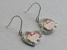 "Lovely Jacmel Sanrio 1 1/8"" Sterling Silver Enamel CZ Hello Kitty Drop Earrings"