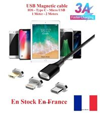 Cable USB 3A chargeur rapide magnétique charger magnetic 3A micro USB IOS Type C