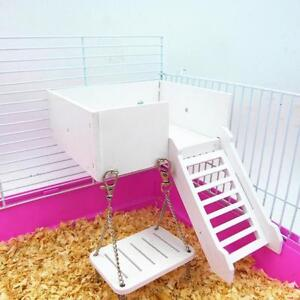 Wooden Hamster Swing Swing Toys Mice Chinchilla Chipmunk Bed Basket House G