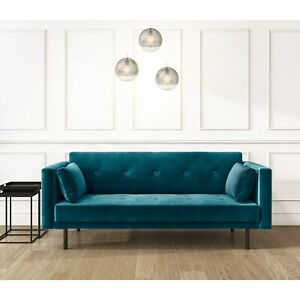 Teal Blue Velvet Sofa Bed with Cushions - Seats 3 - Rory