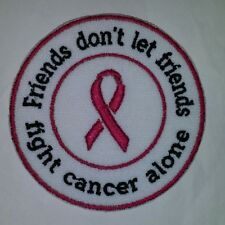 FRIENDS FIGHT CANCER MOTORCYCLE BIKER EMBROIDERED VEST PATCH BREAST CANCER WHITE