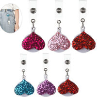 ID Name Card Clip Retractable Badge Holder Key Ring Love Heart Shape Lanyards