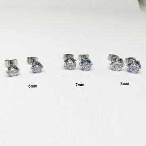 6/7/8mm Cubic Zirconia for Men / Women Stainless Steel Round CZ Stud Earrings