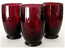 3 Depression Glass Royal Ruby BALTIC 10 oz Tumblers-Set of Three