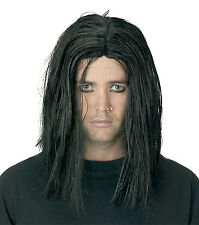 Gothic Long BLACK SINISTER WIG Punk Grunge Rock Halloween costume Accessory-Men