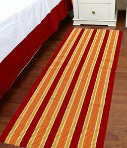 Cotton & Polyester Anti Skid Striped Yoga Mat (55X150cm) For Flooring Exercise
