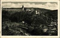 Hrad Křivoklát Pürglitz AK und Briefmarke 1952 gelaufen Blick auf die Burg Wald