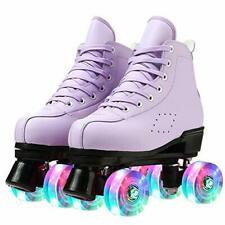 New listing Teafor Womens Roller Skates Purple Classic Roller Skates High-top Double-Row ...