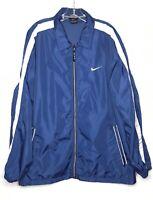 Vintage Nike Mens Windbreaker Jacket Zip Pocket Unlined Blue White Sz L