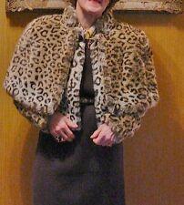 VINTAGE Veste Cape Bolero Fausse fourrure Leopard Faux fur Jacket Giacca