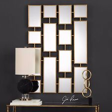 """NEW STATELY 48"""" ANTIQUED GOLD LEAF METAL MIRROR WALL ART PLAQUE CONTEMPORARY"""