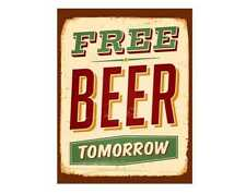 Free beer man cave bar pub club retro vintage style metal wall plaque sign