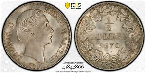 PCGS MS-66 BAVARIA GERMANY SILVER 1/2 GULDEN 1870 (MINTAGE 110,636) TOP POP: 1/0