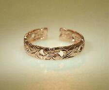 Queen Emma Scrolls Adjustable Toe Ring 4mm Hawaiian Solid 14k Rose Gold Pierced