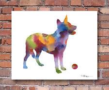 Australian Cattle Dog Contemporary Watercolor Abstract Art Print by Artist Djr