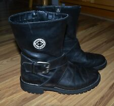 Harley Davidson Black Leather Boots Ladies Sz 7 Side Zip Side Buckle