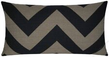 Black/Moss Chevron ZigZag Decorative Throw Pillow Cover/Cushion Cover 12x22""