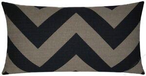 "Black/Moss Chevron ZigZag Decorative Throw Pillow Cover/Cushion Cover 12x22"""