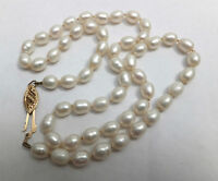 Antique 9kt Gold Cultured Pearl Necklace Ornate Clasp