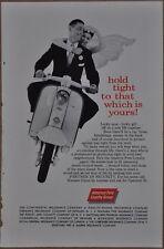 1960 Insurance advertisement, Bride & Groom on LAMBRETTA Scooter American Fore