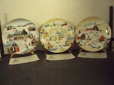 3 collectible Christmas plates by World Book Christmas Collection 1983, 84, 85