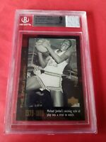 MICHAEL JORDAN GRADED MJ SIGNS WITH NC CARD BGS MINT 9 & PRACTICE JERSEY PIECE