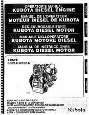 Kubota Diesel Engine Z484-R, DF662E, D722-E Operator's Manual in 5 Languages