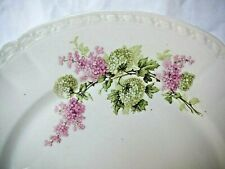 6 assiettes plates en porcelaine de Limoges décor lilas rose et boule de neige
